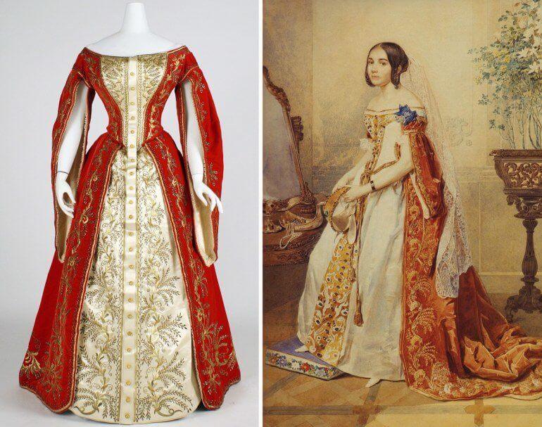 Платье придворной дамы из парчи